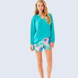Lilly Pulitzer Elsa Silk Turquoise Top - MEDIUM